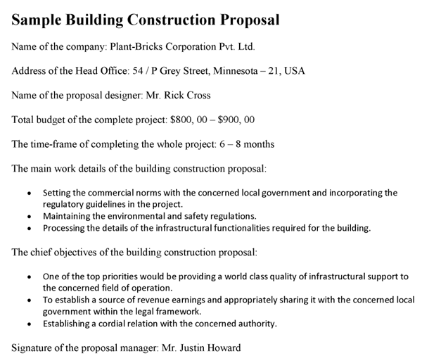 Building Construction Proposal Template