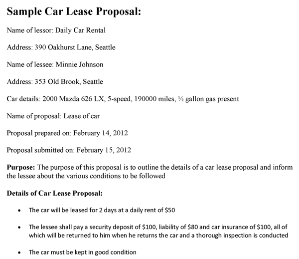 Car Lease Proposal Template