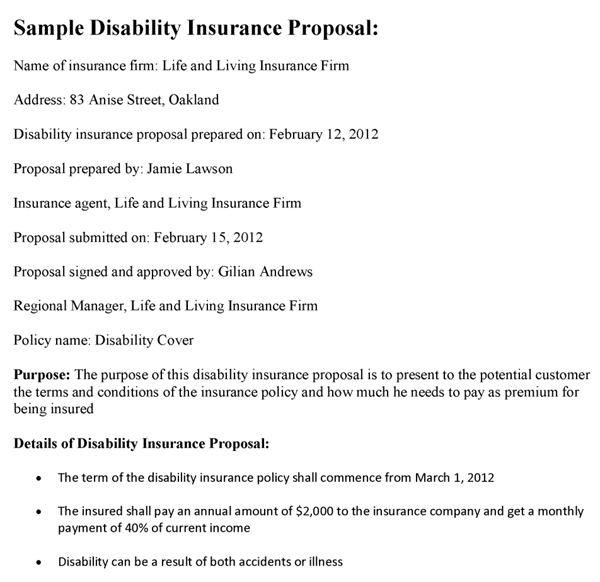 Disability Insurance Proposal Template