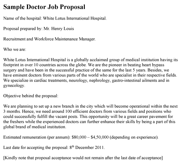 Doctor Job Proposal Template