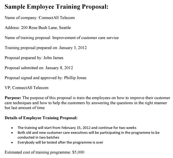 Sample Employee Training Proposal