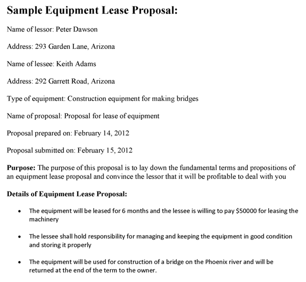 Equipment Lease Proposal Template