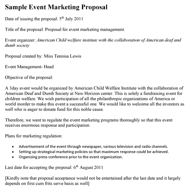 Sample Event Marketing Proposal