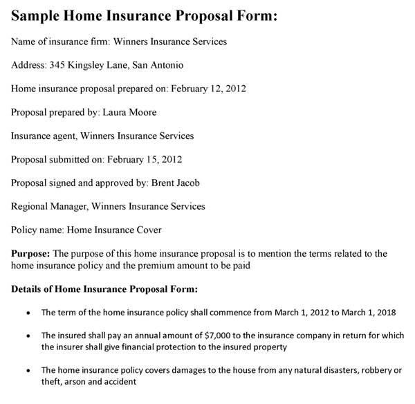 Home Insurance Proposal Form