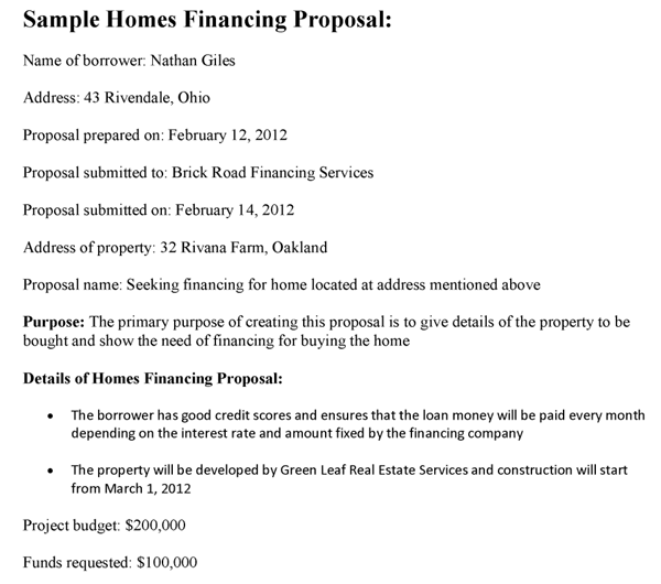 Homes Financing Proposal Template