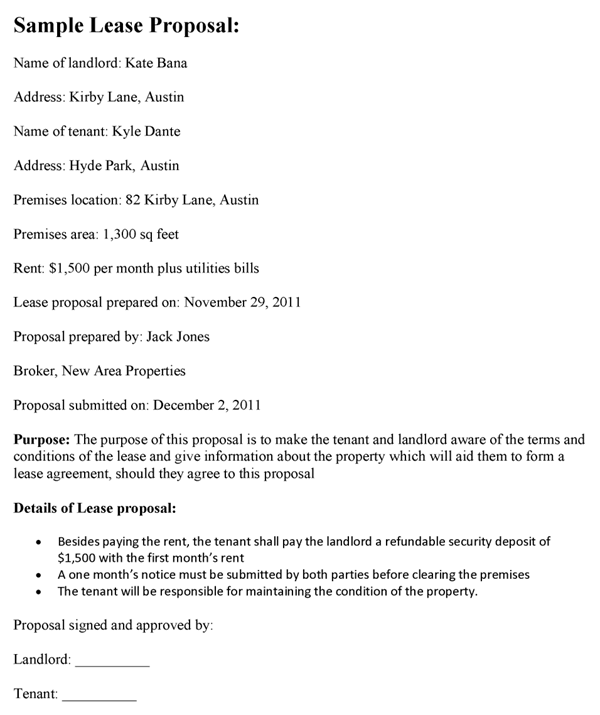 Lease Proposal Sample Template