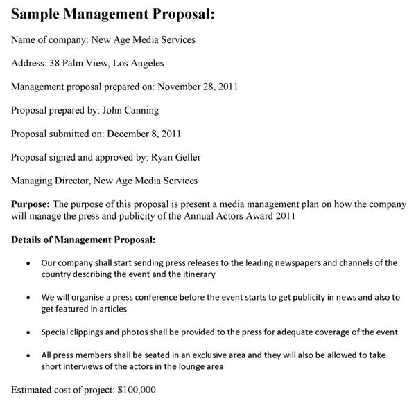 Management Proposal Sample Template