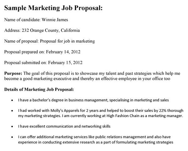 Marketing Job Proposal Template