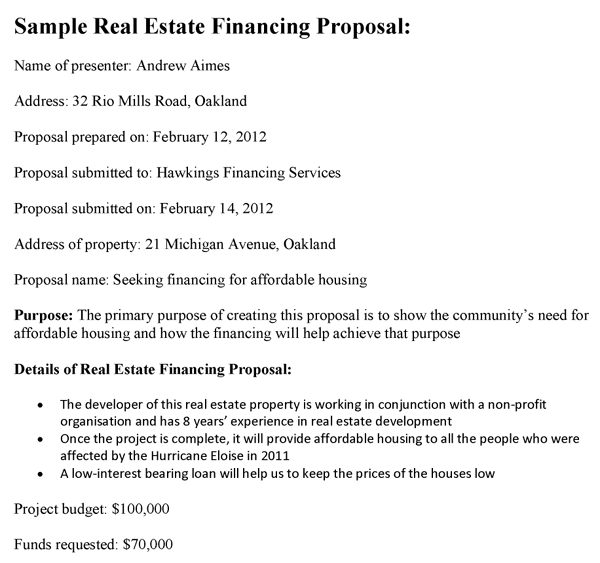 Real Estate Financing Proposal Template