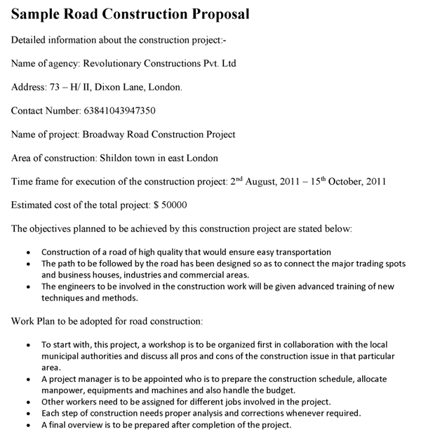 Road Construction Proposal Template