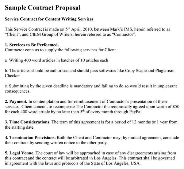 Sample Contract Proposal Template