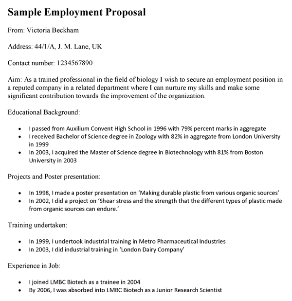 Sample Employment Proposal Template