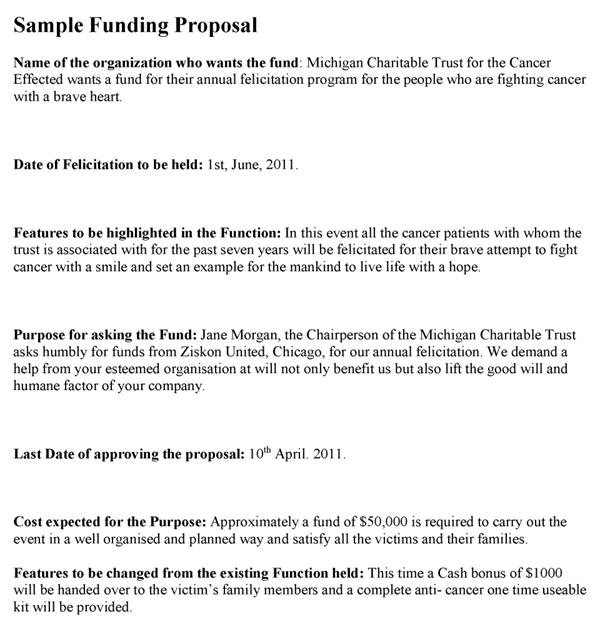 Sample Funding Proposal Template