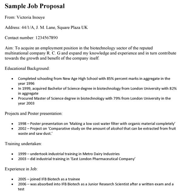Sample Job Proposal Template