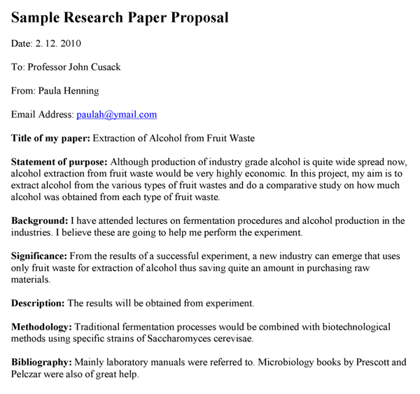 Research Paper Proposal Example