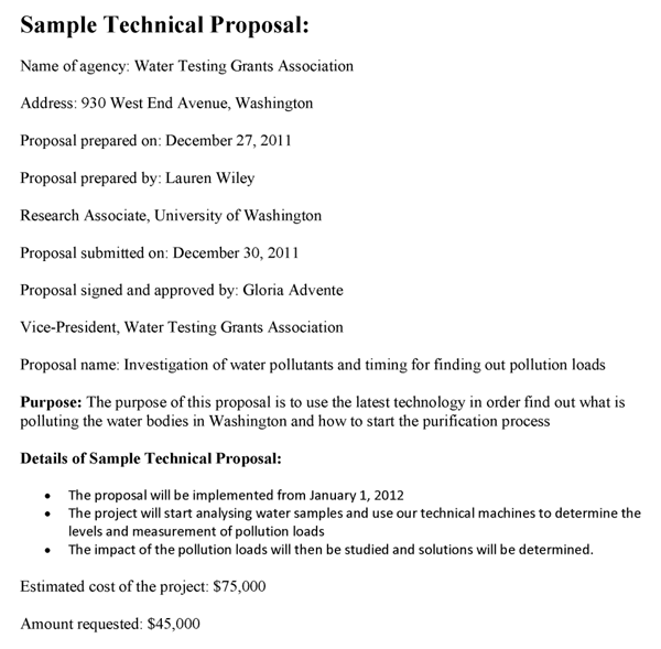 Sample Technical Proposal
