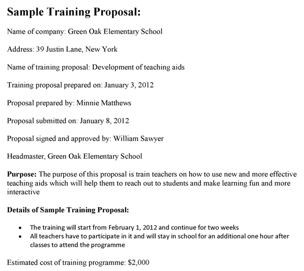 Sample Training Proposal
