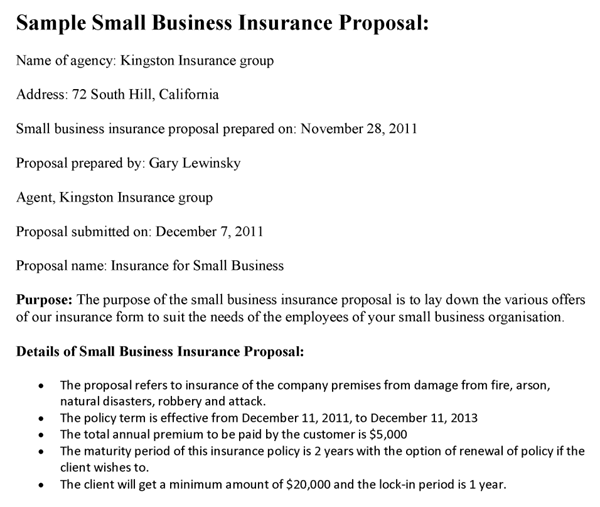 Small Business Insurance Proposal Template