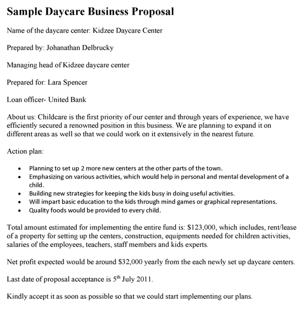 daycare business proposal template