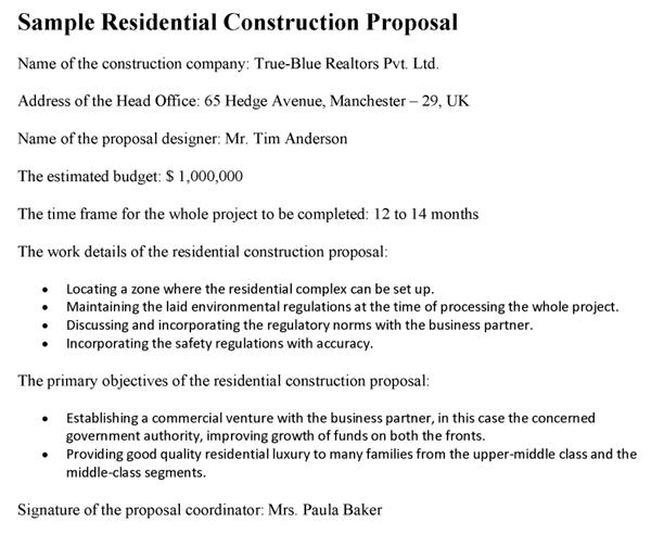 residential construction proposal template. Black Bedroom Furniture Sets. Home Design Ideas