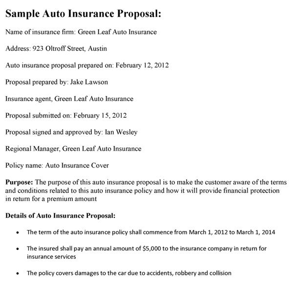 auto insurance proposal template