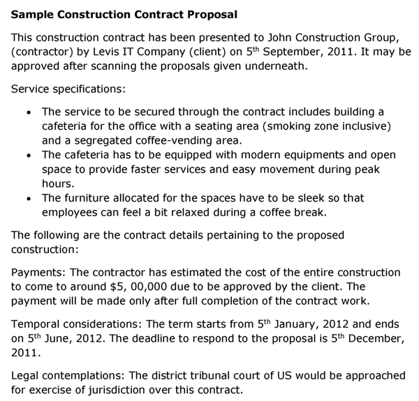 construction contract proposal template. Black Bedroom Furniture Sets. Home Design Ideas