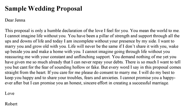marriage proposal letter wedding template 13407 | Sample Wedding Proposal